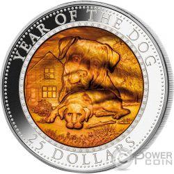 DOG Mother of Pearl Lunar Year Series 5 Oz Серебро Монета 25$ Соломонские Острова 2018