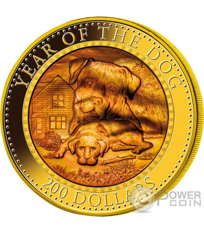 Dog Mother Of Pearl Lunar Year Series 5 Oz Gold Coin 200