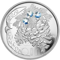 PINE CONE MOONLIGHT Holiday Pinecone Silver Coin 20$ Canada 2010