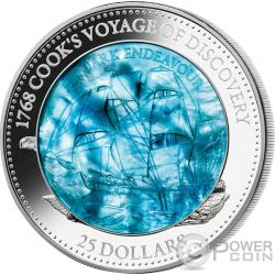 HM BARK ENDEAVOUR 250th Anniversary Mother Of Pearl 5 Oz Серебро Монета 25$ Соломонские Острова 2018