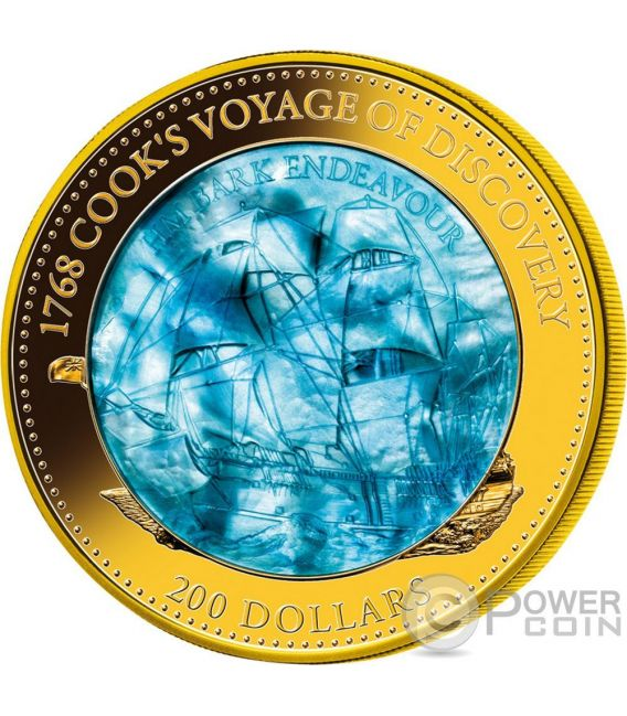 HM BARK ENDEAVOUR 250th Anniversary Mother Of Pearl 5 Oz Gold Coin 200$ Solomon Islands 2018