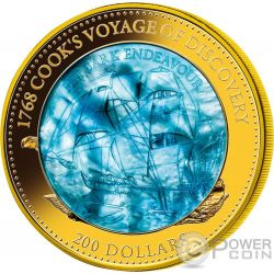 HM BARK ENDEAVOUR 250 Anniversario Mother Of Pearl 5 Oz Moneta Oro 200$ Solomon Islands 2018