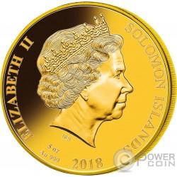 HM BARK ENDEAVOUR 250th Anniversary Mother Of Pearl 5 Oz Золото Монета 200$ Соломонские Острова 2018