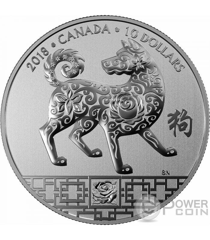 Year Of The Dog Lunar Silver Coin 10 Canada 2018 Power Coin