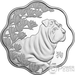 YEAR OF THE DOG Anno Cane Lunar Lotus Moneta Argento 15$ Canada 2018