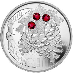 PINE CONE RUBY Holiday Pinecone Silver Coin 20$ Canada 2010