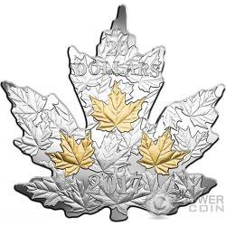 GILDED SILVER MAPLE LEAF Foglia Acero Cut Out 1 Oz Moneta Argento 20$ Canada 2017