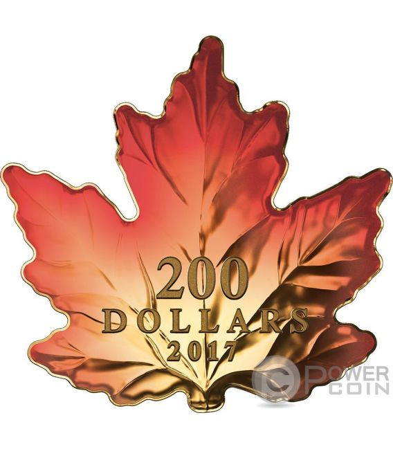 Autumn Fire Maple Leaf Cut Out 1 Oz Gold Coin 200 Canada