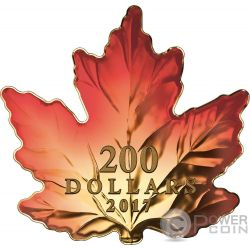 AUTUMN FIRE Maple Leaf Cut Out 1 Oz Gold Coin 200$ Canada 2017
