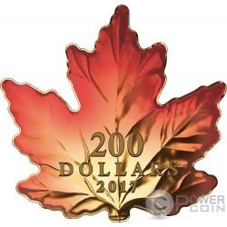 AUTUMN FIRE Otono Fuego Hoja Arce Cut Out 1 Oz Moneda Oro 200$ Canada 2017