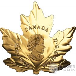 AUTUMN FIRE Feuer Maple Leaf Cut Out 1 Oz Gold Münze 200$ Canada 2017