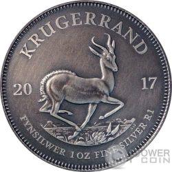 KRUGERRAND Acabado Antiguo 1 Oz Moneda Plata 1 Rand South Africa 2017