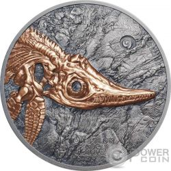 ICHTHYOSAUR Evolution of Life Triassic Period 1 Oz Moneda Plata 500 Togrog Mongolia 2017