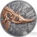 ICHTHYOSAUR Evolution of Life Triassic Period 1 Oz Moneda Plata 500 Togrog Mongolia 2017