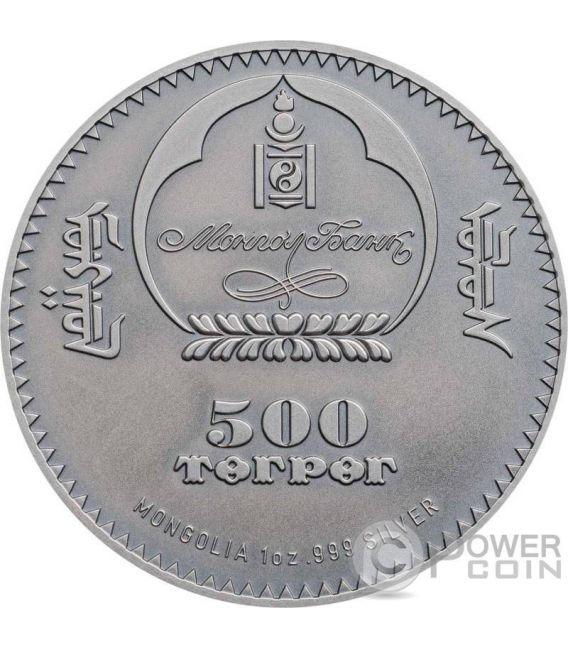 ICHTHYOSAUR Evolution of Life Triassic Period 1 Oz Silver Coin 500 Togrog Mongolia 2017