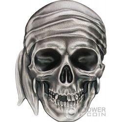 PIRATE SKULL Piratenschädel Shape 1 Oz Silber Münze 5$ Palau 2017