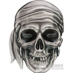 PIRATE SKULL Shape 1 Oz Moneta Argento 5$ Palau 2017