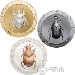 SCARAB SELECTION II Escarabajos Set 3x1 Oz Monedas Plata 5$ Cook Islands 2017