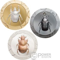 SCARAB SELECTION II Scarabei Set 3x1 Oz Monete Argento 5$ Cook Islands 2017