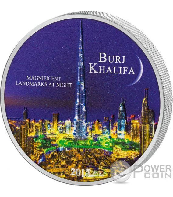 BURJ KHALIFA Landmarks at Night Ultraviolet 2 Oz Silver Coin 2000 Francs Ivory Coast 2017
