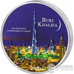 BURJ KHALIFA Landmarks at Night Ultraviolet 2 Oz Moneda Plata 2000 Francos Ivory Coast 2017