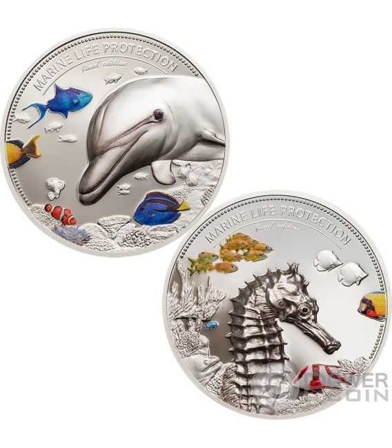 DOLPHIN AND SEA HORSE Delfino Marine Life Protection Set 2x2 Oz Moneta Argento 10$ Palau 2017