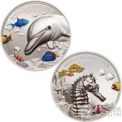 DOLPHIN AND SEA HORSE Marine Life Protection Set 2x2 Oz Silver Coin 10$ Palau 2017