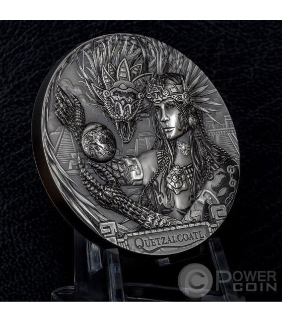 QUETZALCOATL Aztec Feathered Serpent Gods Of The World 3 Oz Silver Coin 20$ Cook Islands 2017