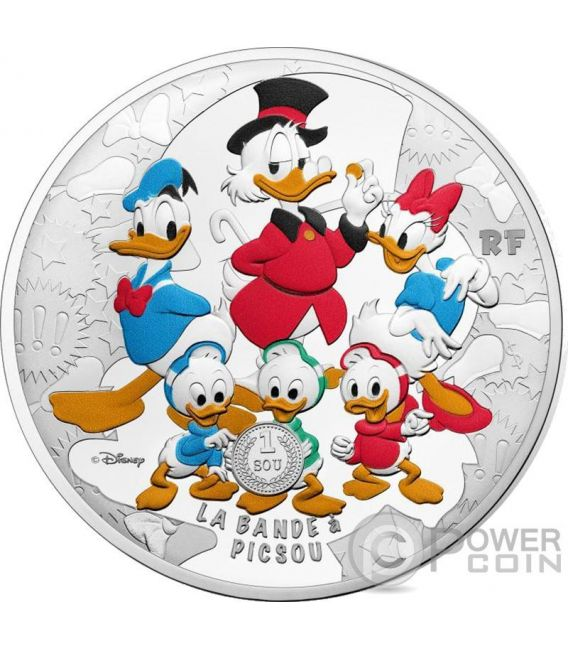 SCROOGE MCDUCK DuckTales Tio Rico McPato Patoaventuras Bande a Picsou Disney 5 Oz Moneda Plata 50€ Euro France 2017