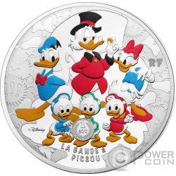 SCROOGE MCDUCK DuckTales Zio Paperone Avventure di Paperi Bande a Picsou Disney 5 Oz Moneta Argento 50€ Euro France 2017