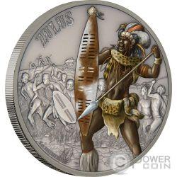 ZULUS Guerrieri Zulu Warriors of History 1 Oz Moneta Argento 2$ Niue 2017