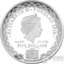 MIRROR DOG Chinese Lunar Year 1 Oz Silver Coin 5$ Tokelau 2018