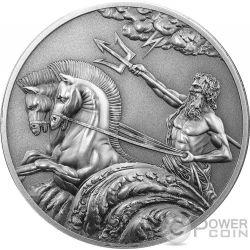 POSEIDON Poseidone Dio Greco del Mare Creatures of Myth and Legend 1 Oz Moneta Argento 5$ Tokelau 2017