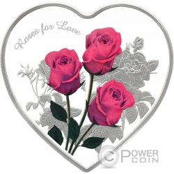 ROSES FOR LOVE Heart Shaped Silver Coin 1$ Tokelau 2017