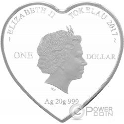 ROSES FOR LOVE Heart Shaped Серебро Монета 1$ Токелау 2017