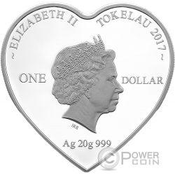 TOGETHER FOREVER Heart Shaped Серебро Монета 1$ Токелау 2017