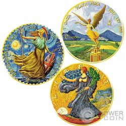 VINCENT VAN GOGH Britannia Libertad Walking Liberty Ounce Of Art Set 3 x 1 Oz Silver Coin United Kingdom Mexico US Mint 2017