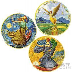 VINCENT VAN GOGH Britannia Libertad Walking Liberty Ounce Of Art Set 3 x 1 Oz Silver Coin United Kingdom Mexico US Mint 2017