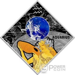 AQUARIUS Wassermann Zodiac Signs Silber Münze 100 Denars Macedonia 2018