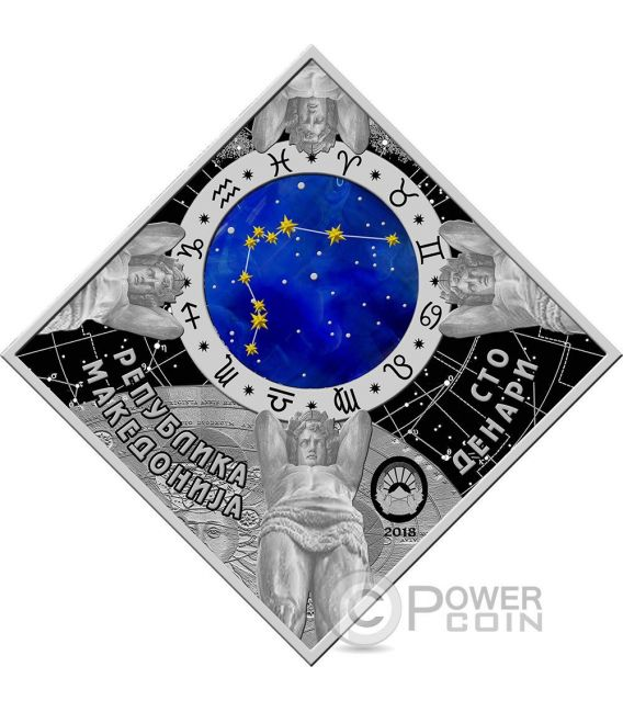 AQUARIUS Acquario Zodiac Signs Moneta Argento 100 Denars Macedonia 2018