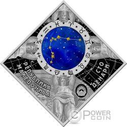 AQUARIUS Zodiac Signs Серебро Монета 100 Денар Македония 2018