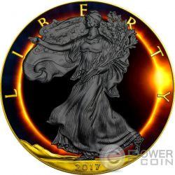 TOTAL SOLAR ECLIPSE Eclisse Solare Eagle Walking Liberty 1 Oz Moneta Argento 1$ US Mint 2017