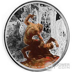 WEREWOLF VS THE COUNT Hombre Lobo Conde Frazetta Monsters Collection 1 Oz Moneda Plata 5 Cedis Ghana 2017