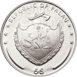 FOUR LEAF CLOVER Ounce Of Luck Moneda Plata 5$ Palau 2011