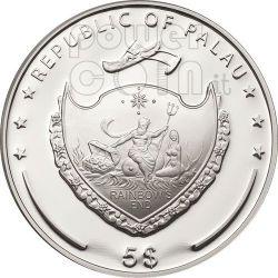 QUADRIFOGLIO PORTAFORTUNA Moneta Argento 5$ Palau 2011