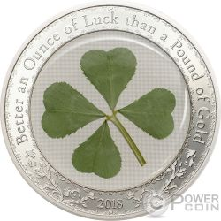 OUNCE OF LUCK Four Leaf Clover 1 Oz Silver Coin 5$ Palau 2018