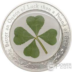 OUNCE OF LUCK Four Leaf Clover 1 Oz Silver Coin 5$ Palau 2018