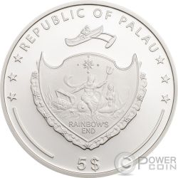 OUNCE OF LUCK Onza Suerte Four Leaf Clover 1 Oz Moneda Plata 5$ Palau 2018