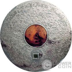 MARS THE RED PLANET Marte Planeta Rojo Meteorites 3 Oz Moneda Plata 20$ Cook Islands 2017