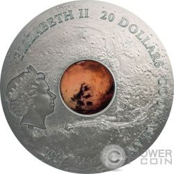 MARS THE RED PLANET Meteorites 3 Oz Серебро Монета 20$ Острова Кука 2017